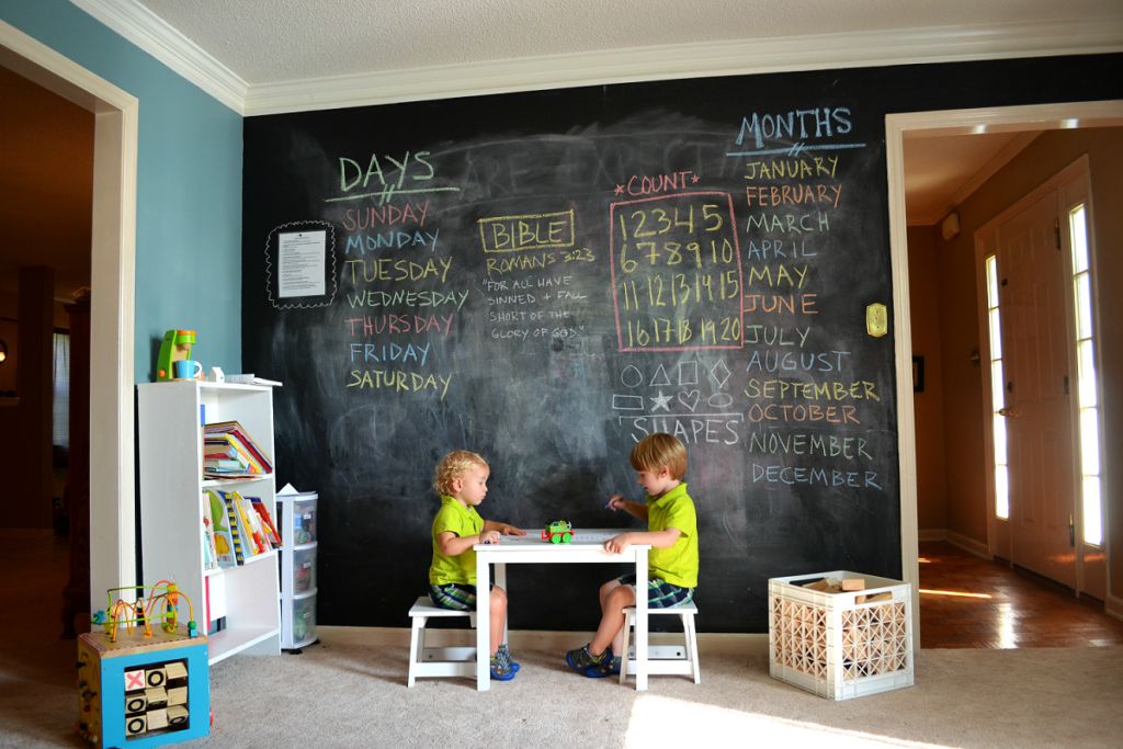 грифельные стены в детской комнате оформлены как акцентная стена