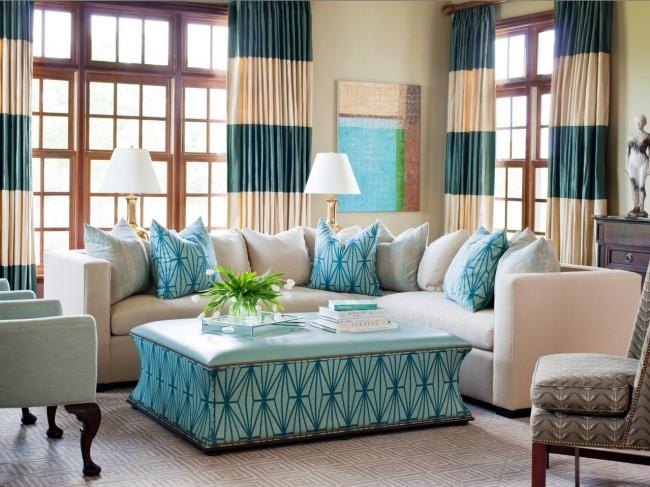 Сочетание цвета дивана с цветом штор