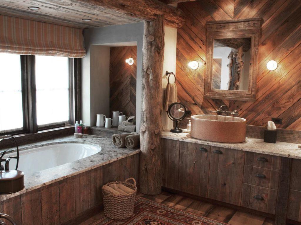 Ванная комната в интерьере деревянного дома