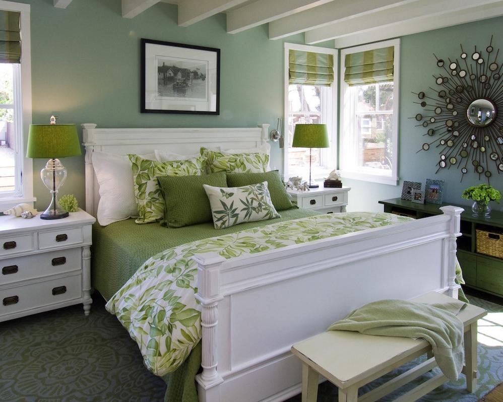 Зелёный цвет в интерьере спальни в стиле Прованс